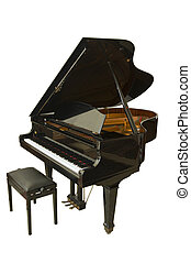 grand piano - open wing baby grand piano isolated on white
