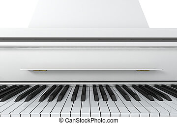 Grand Piano - White grand piano isolated on light background