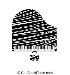 grand piano icon with white line illustration