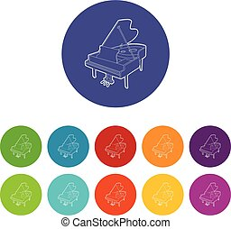 Grand piano icons set vector color