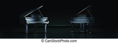 Grand piano in dark background. 3d rendering