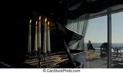 piano in hall restaurant