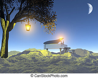 Grand piano in moon light