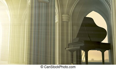 Grand piano in the gothic church with the god light. 3D...