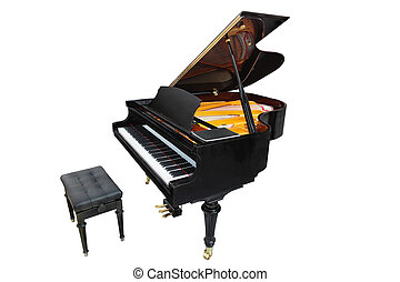 Grand piano isolated under the white background
