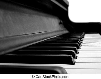 Grand Piano Keys in Close Up