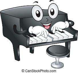 Grand Piano Mascot - Illustration of Grand Piano Mascot with...