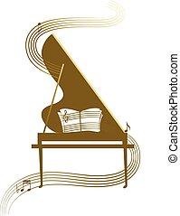 Grand piano - Piano in gold, classic music concert...