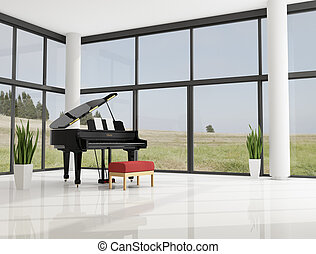 grand piano in a modern minimalist living room - rendering