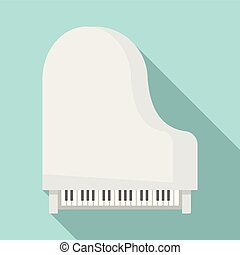 Grand piano top view icon, flat style