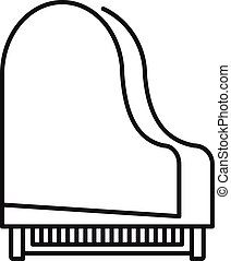 Grand piano top view icon, outline style