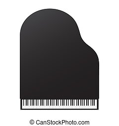 Grand piano top view on a white background.