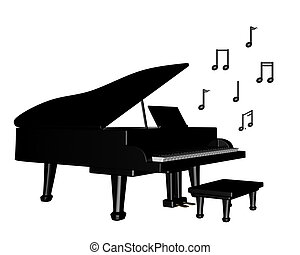 Grand Piano with Musical Notes - Black grand piano with...