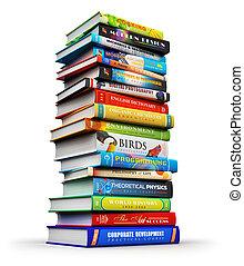 grand, pile, de, couleur, livre cartonné, livres