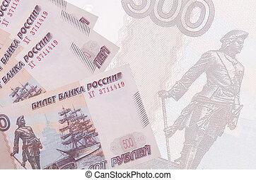 grand, pile, résumé, billet banque., business, 500, russe, semi-transparent, fond, mensonges, rubles, factures