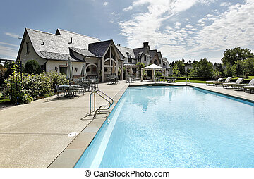 grand, piscine, pont