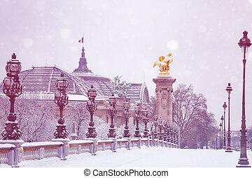 Grand Place, Alexander 3 bridge, Paris under snow
