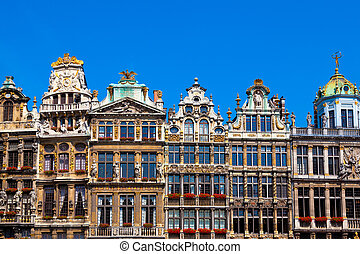 Grand Place, Brussels. - Guildhalls on the Grand Place,...