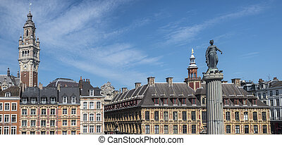 Grand Place in Lille - View in Grand Place in the historical...