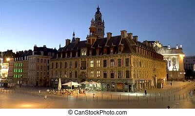 Old Stock Exchange, Vieille Bourse de Lille, and Chamber of Commerce Belfry at Grand Place, Place Charles de Gaulle in Old Town Lille, France.