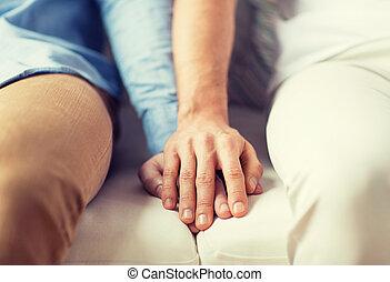 grand plan, de, heureux, mâle, couples gais, tenant mains