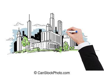 grand plan, de, homme affaires, dessin, ville, croquis