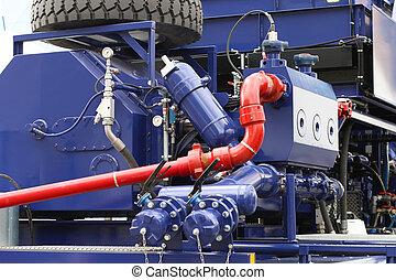 grand plan, de, huile, équipement production
