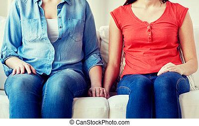 grand plan, de, lesbienne couple, s'asseoir sofa, chez soi