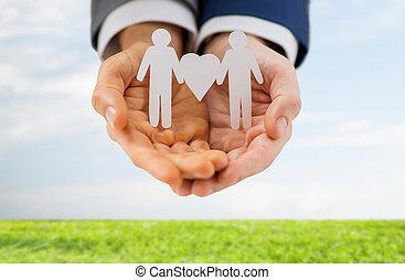 grand plan, de, mâle, couples gais, à, amour, symbole
