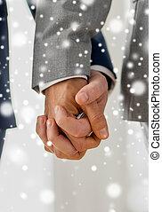 grand plan, de, mâle, couples gais, tenant mains