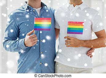 grand plan, de, mâle, couples gais, tenue, arc-en-ciel,...
