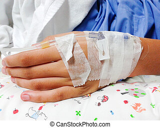 grand plan, de, main, à, iv, solution, dans, a, malades, dans, hôpital, à, salin, intraveineux