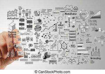 grand plan, de, main, dessin, stratégie commerciale