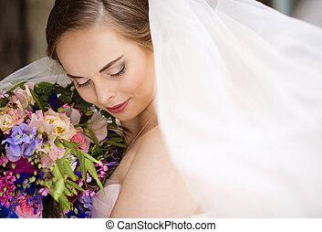 grand plan, de, mariée, figure, à, voile