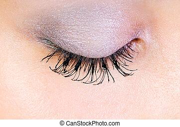 grand plan, de, oeil, à, maquillage