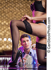grand plan, de, sexy, strip-tease, danseur, partir, hose.,...