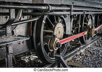grand plan, de, vieux, train, roues