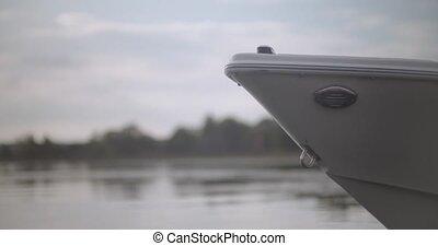 grand plan, encore, bateau, doucement, il, flotte, eau,...