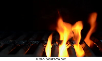 grand plan, flammes, grille