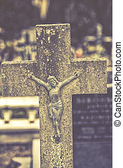 grand plan, sur, croix, de, jésus christ, sur, cemetery., vendange, effet