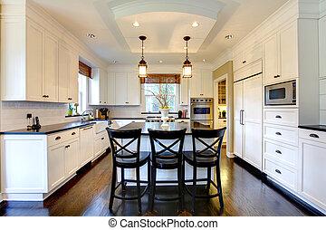 grand, plancher, moderne, sombre, luxe, blanc, cuisine
