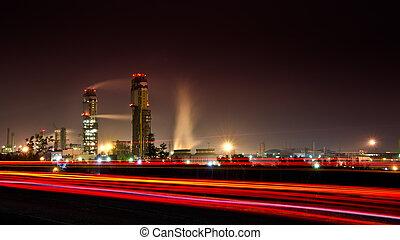 grand, plante, industriel, nuit