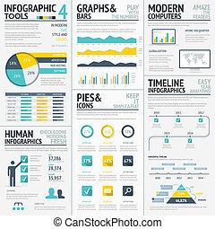 grand, plat, coloré, infographic, elemen