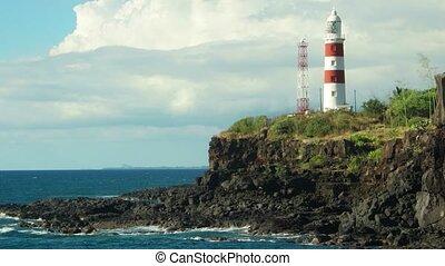 grand, pointe, sur, debout, cavernes, phare, aux, île ...