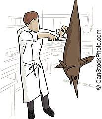 grand poisson, lignes, isolé, illustration, chef cuistot, découpage, vecteur, arrière-plan noir, blanc, cuisine