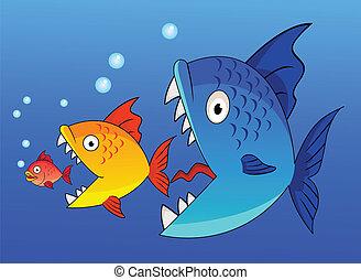 grand poisson, plus petit, manger