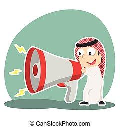 grand, porte voix, arabe, homme affaires, conversation