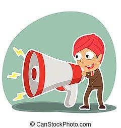grand, porte voix, indien, homme affaires, conversation