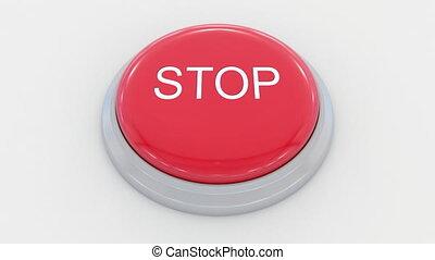 grand, poussée bouton, arrêt, inscription., rouges