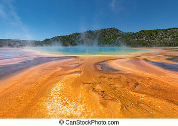 Grand Prismatic Spring. Hot springs. Yellowstone National...